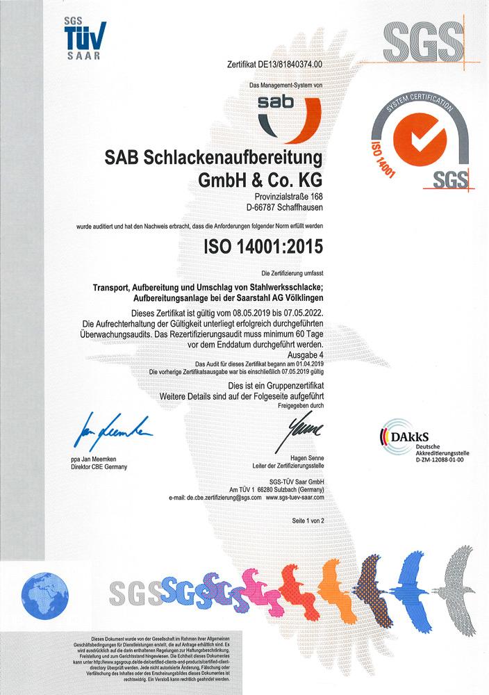 sab Zertifikat ISO 14001:2015